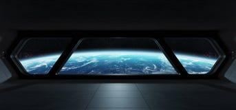 Interior futurista da nave espacial com vista na terra do planeta Fotografia de Stock