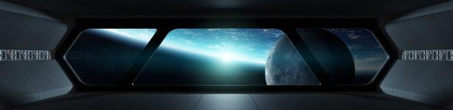 Interior futurista da nave espacial com vista na terra do planeta ilustração do vetor