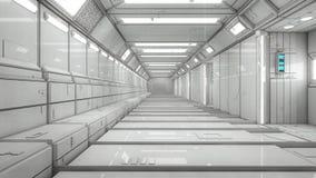 Interior futurista del pasillo Fotografía de archivo