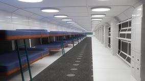 Interior futurista e beliches Foto de Stock Royalty Free