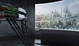 Interior futurista e da ficção científica do projeto da nave espacial ilustração royalty free