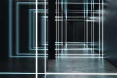 Interior futurista preto abstrato Fotografia de Stock