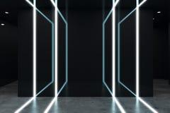Interior futurista preto moderno Imagens de Stock Royalty Free
