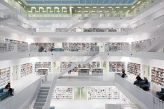 Interior of futuristic Library in white. Stock Images