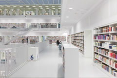 Interior of futuristic Library in white. Stock Photos