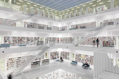 Interior of futuristic Library in white. Stock Image