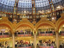Interior of the Galeries Lafayette Paris France royalty free stock photos