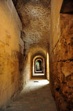 Interior galleries of the Roman Amphitheatre of Italica, Andalusia, Spain Stock Photos
