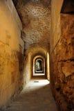 Interior galleries of the Roman Amphitheatre of Italica, Andalusia, Spain Stock Photos