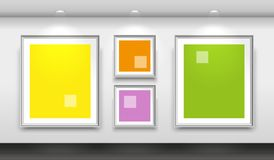 Interior gallery with four empty white frames on the wall. Vector Stock Image