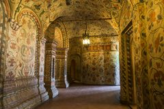 The interior of the gallery of the second tier St. Basil`s Cathedral Pokrovsky, Protection of the virgin on the Moat, Red square Royalty Free Stock Images
