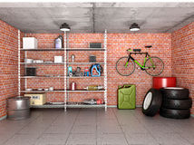 Interior garage with tools, equipment and wheels. Royalty Free Stock Image