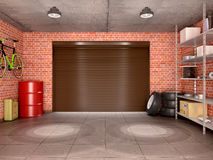 Interior garage with tools, equipment and wheels. Stock Image