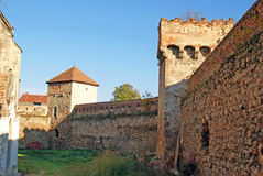 Interior garden of aiud citadel. Bounded by high walls in transylvania land of romania Stock Images