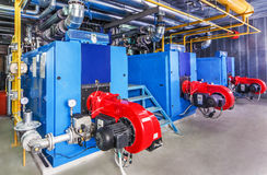 Interior gas boiler with three boilers Stock Photo