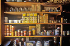 Interior of General Store with goods on shelves in Ghost Town near Virginia City, MT Royalty Free Stock Image