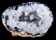 Interior of a geode quartz crystal rock Royalty Free Stock Images