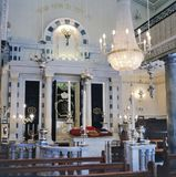 Interior of the Gibraltar Flemmish Synagogue. Gibraltar,Gibraltar-April 14,2009: Gibraltar Flemish Synagogue 1799 Nefusot Yehuda Synagogue View Towards Ark.This royalty free stock photography