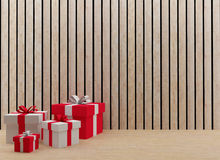 Interior gift boxes for festival and celebration in 3D render image. Interior gift boxes in the wood room for festival and celebration in 3D render image Royalty Free Illustration