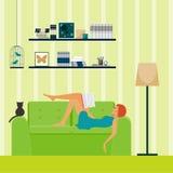 Interior. Girl reading. Stock Image