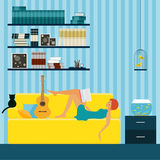 Interior. Girl reading. Flat style interior for use in design. Stock Photography