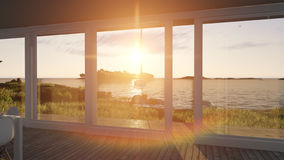 Interior with glass doors and sea landscape. 3d illustration Royalty Free Stock Images