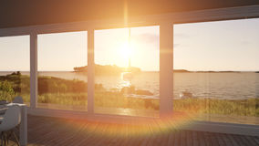 Interior with glass doors and sea landscape. 3d illustration Royalty Free Stock Photography