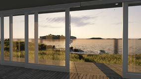 Interior with glass doors and sea landscape. 3d illustration Royalty Free Stock Photos