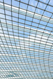 Interior glass roof. Interior of office building with metal and glass roof Royalty Free Stock Image