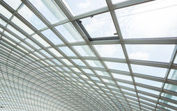 Interior glass roof. Interior of office building with metal and glass roof Stock Photography