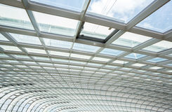 Interior glass roof. Interior of office building with metal and glass roof Royalty Free Stock Photos