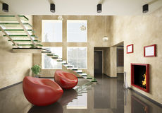 Interior with glass staircase and fireplace 3d. Modern interior with glass staircase and fireplace 3d render Stock Photography