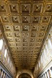 The Interior Golden Decorated Ceiling of the Basilica of Santa M royalty free stock photos