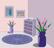 Interior with goldfish bowl and flowers. Royalty Free Stock Photos