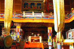 Interior of gompa in Ladakh monastery Royalty Free Stock Images