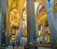 Interior of the Gothic Barcelona Cathedral (Catedral de Barcelon Royalty Free Stock Photography