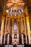 Interior of Gothic Barcelona Cathedral, Spain. Interior of Gothic Barcelona Cathedral The Cathedral of the Holy Cross and Saint Eulalia Architectural details of royalty free stock image