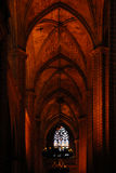 Interior of the gothic Cathedral in Barcelona Stock Photography