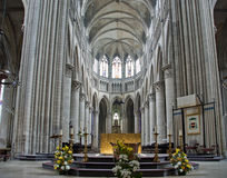 Interior of the gothic cathedral in Rouen,  France Royalty Free Stock Photography