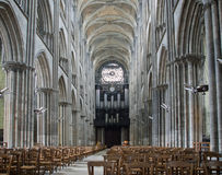 Interior of the gothic cathedral in Rouen,  France Stock Photo