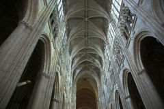Interior of a Gothic cathedral of Saint Gatien, Tours, France Stock Photography