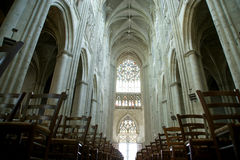 Interior of a Gothic cathedral of Saint Gatien, Tours, France Stock Image