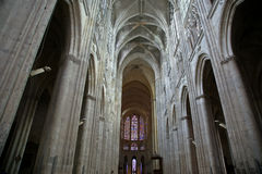 Interior of a Gothic cathedral of Saint Gatien, Tours, France Stock Photo