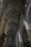 Interior Gothic Cathedral of Segovia, columns and arches with la. Rge windows Stock Photo