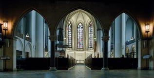 Interior of gothic church Hauptkirche St. Petri in Hamburg Stock Photos