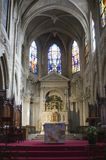 Interior of gothic church from Paris - st.Lawrenc Royalty Free Stock Images