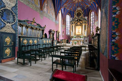 The interior of a Gothic church, Poland. royalty free stock image