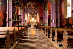 The interior of a Gothic church, Poland. Catholic church built in the fifteenth century in the Gothic style in Bydgoszcz, Bydgoszcz Diocese Cathedral, the Royalty Free Stock Image