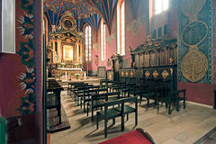 The interior of a Gothic church, Poland. Catholic church built in the fifteenth century in the Gothic style in Bydgoszcz, Bydgoszcz Diocese Cathedral, the Royalty Free Stock Photos