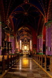 The interior of a Gothic church, Poland. Catholic church built in the fifteenth century in the Gothic style. Diocese Cathedral, the Shrine of Our Lady of Stock Images